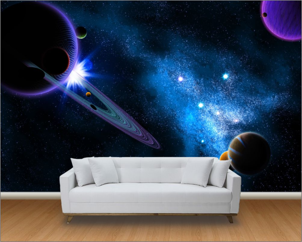 Papel de parede 3d universo m 0003 paredes decoradas elo7 - Papel pared 3d ...