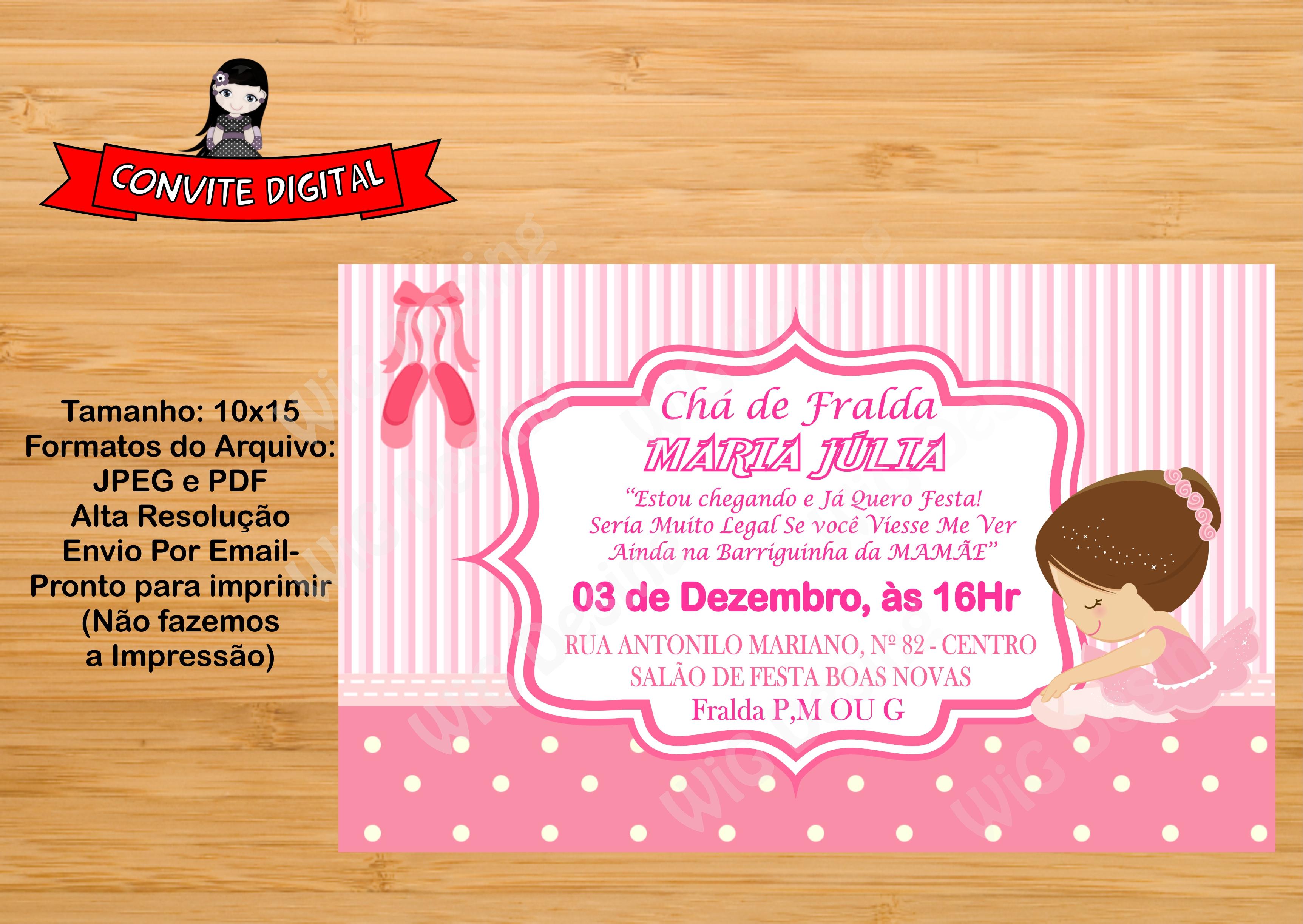 Convite Cha De Fraldas Bailarina Morena Elo7