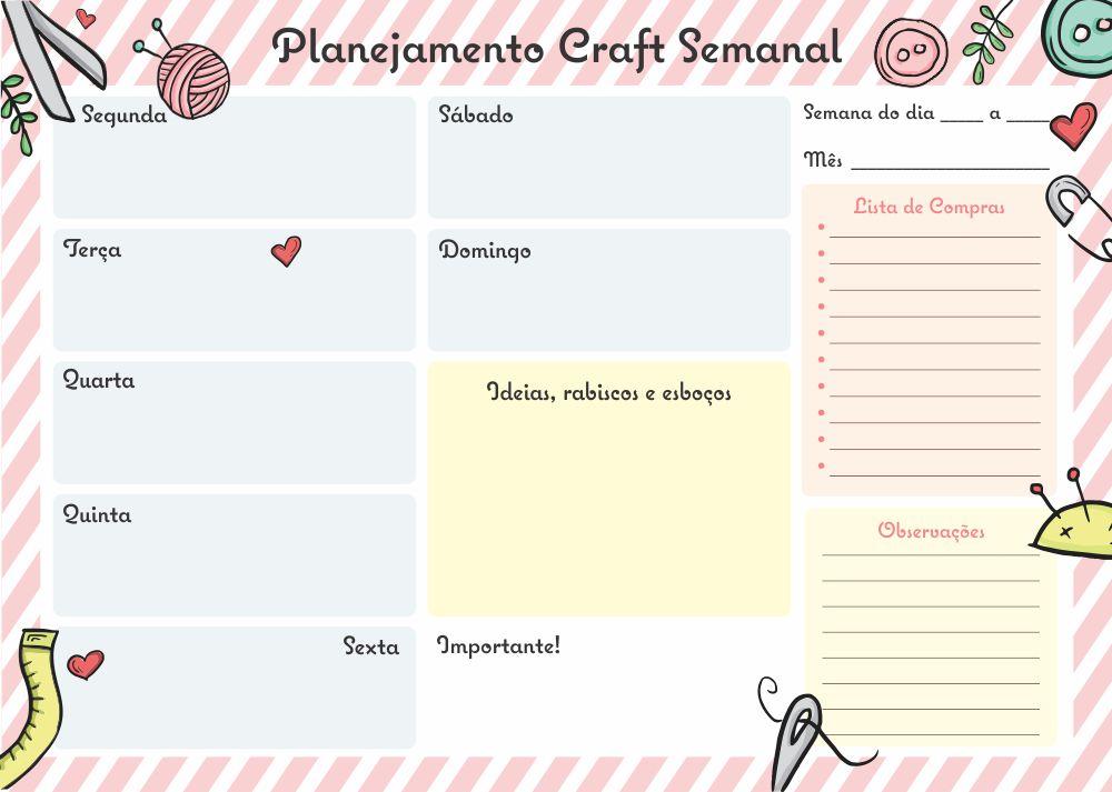 bloco craft planner semanal no elo7 loja duoo design 817a17