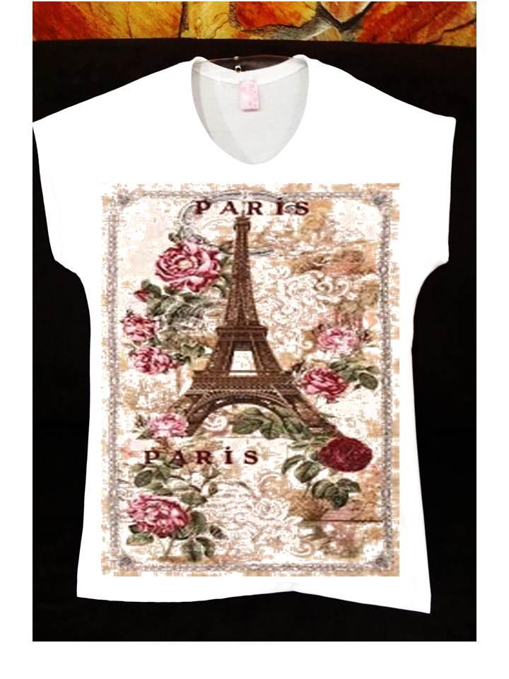 Camiseta Feminina Cidade Paris  9929952156438