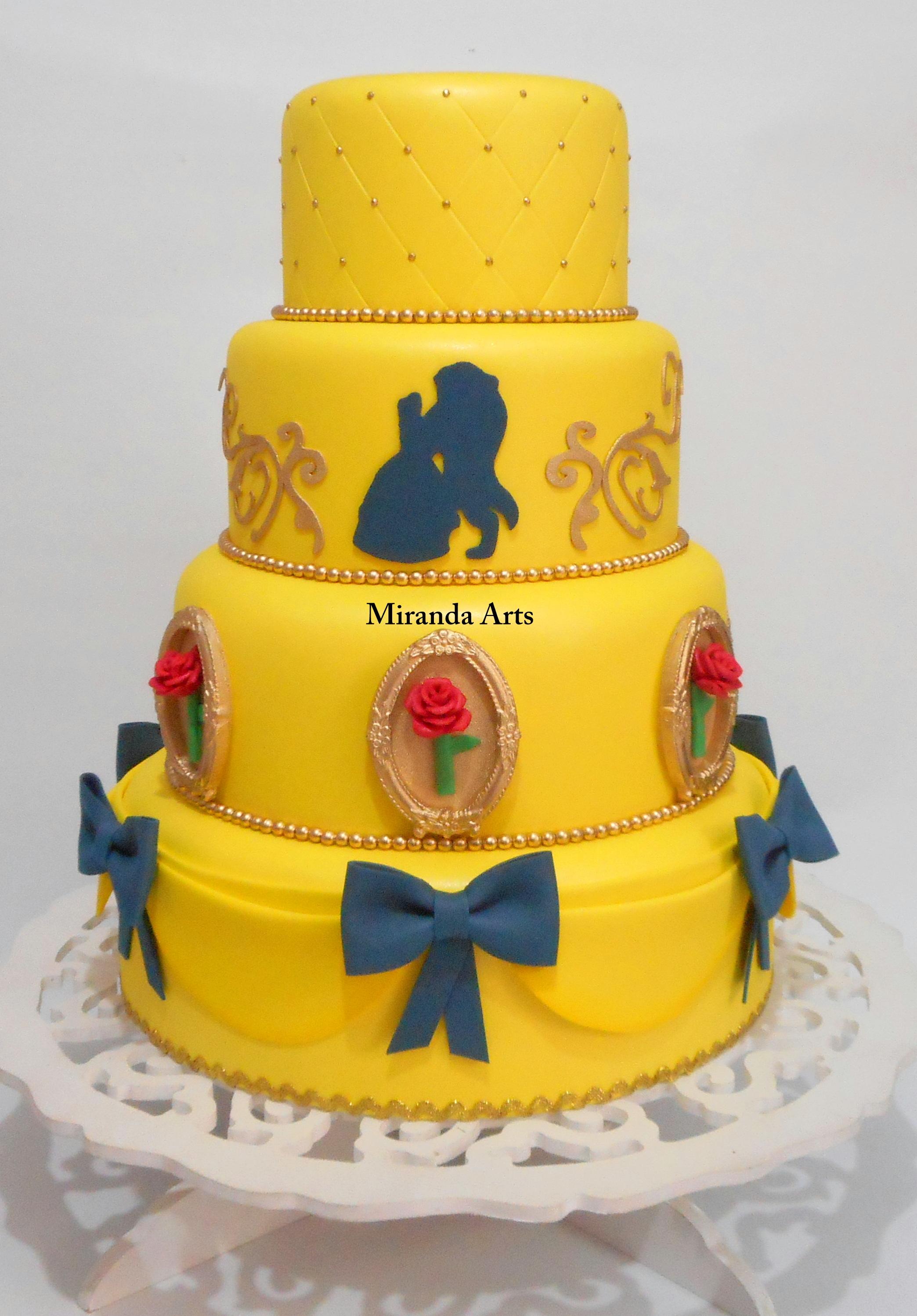 Resultado de imagem para bolo a bela e a fera