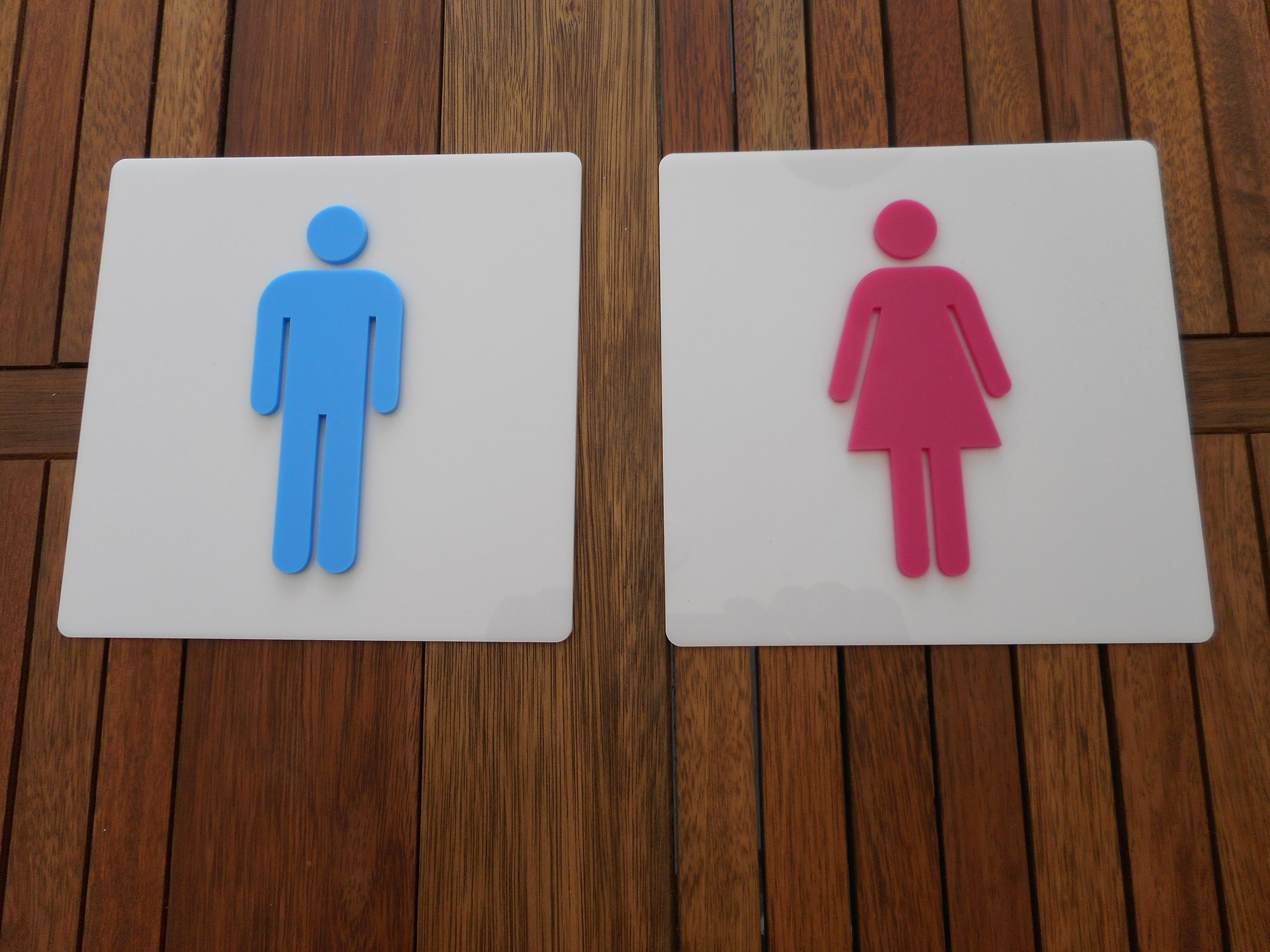 Par Placa Banheiro Masculino Feminino  Visual Laser  Elo7 -> Boneco Banheiro Feminino