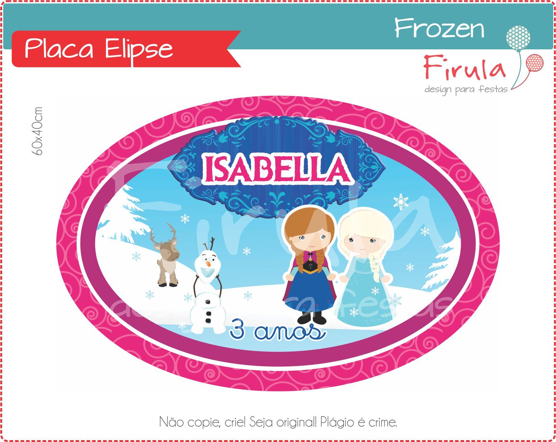 Placa Elipse Frozen  d94305fd89f1b