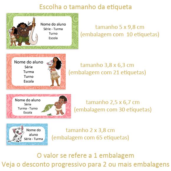 Etiqueta Escolar Adesiva Moana Disney - Frete Grátis no Elo7 | Arte ...