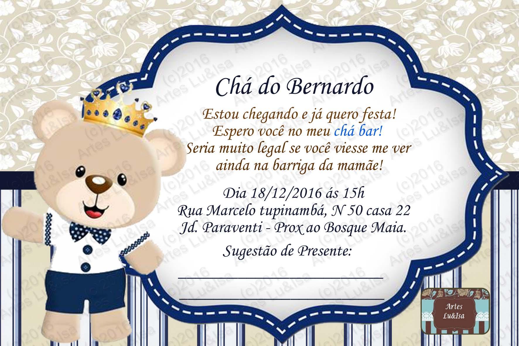 Convite Digital Ursinho Príncipe No Elo7 Luisa 830e73