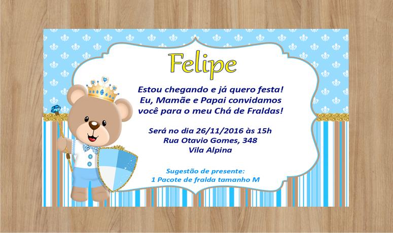 Convite Ursinho Príncipe Frete Grátis No Elo7 Criarteshop 8331e9