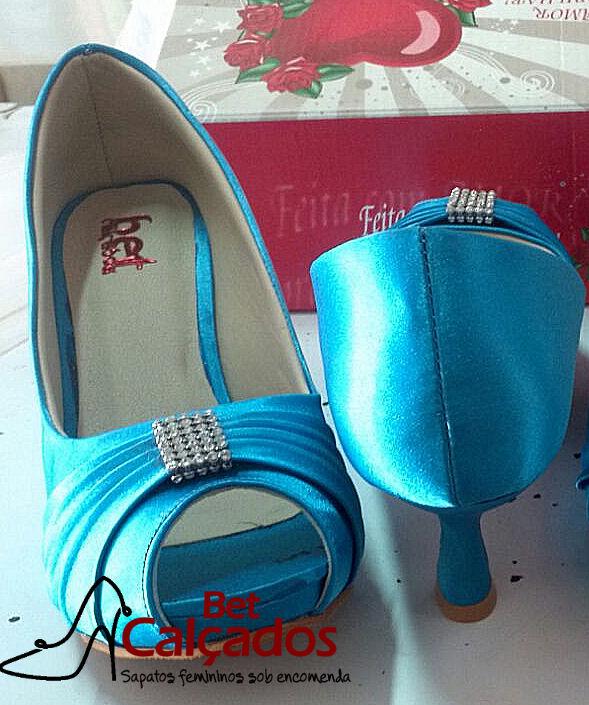 48e41bd2f1 Sapato Azul Turquesa Tiffany Laco Frente