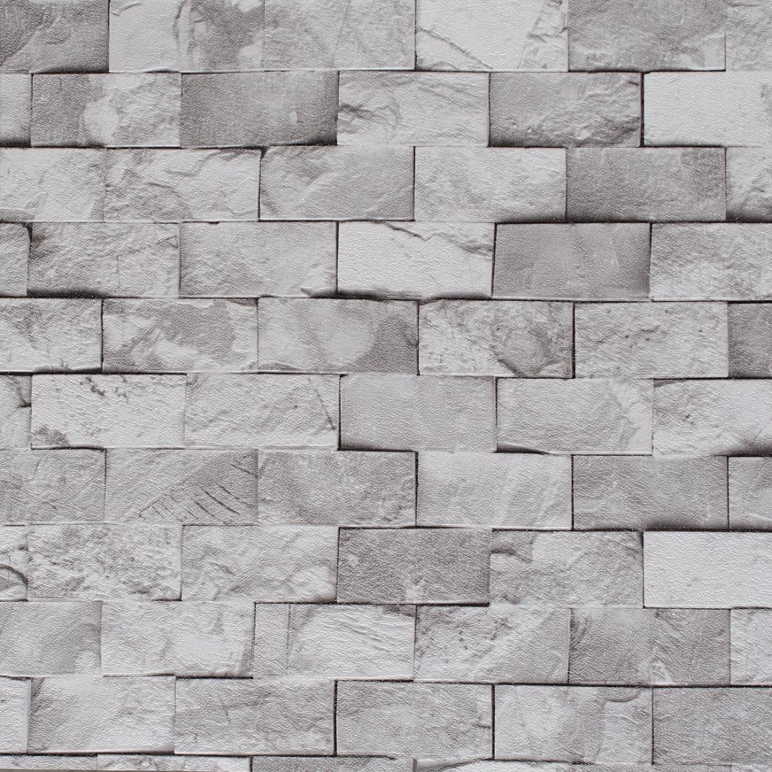 4054063e7 Papel de parede Tijolinho Cinza no Elo7