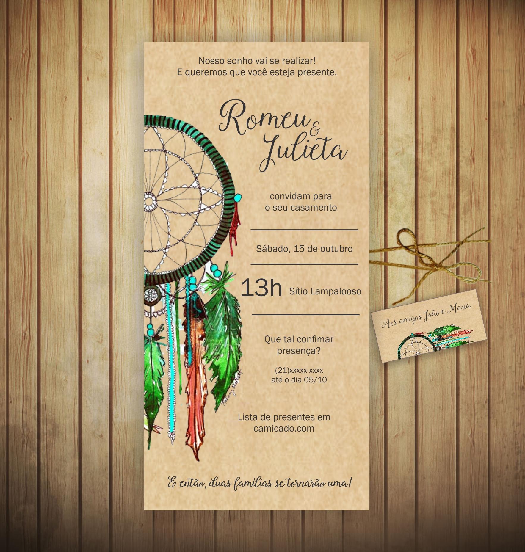 Convite de Casamento Boho no Elo7  d12a67a8157