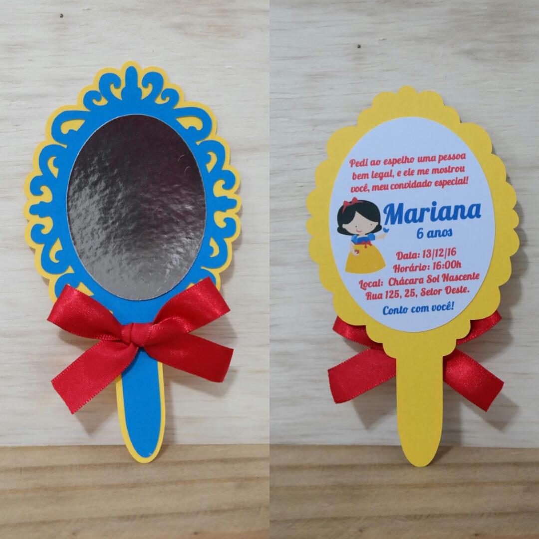 Convite Branca De Neve Espelho No Elo7 Natália Moura