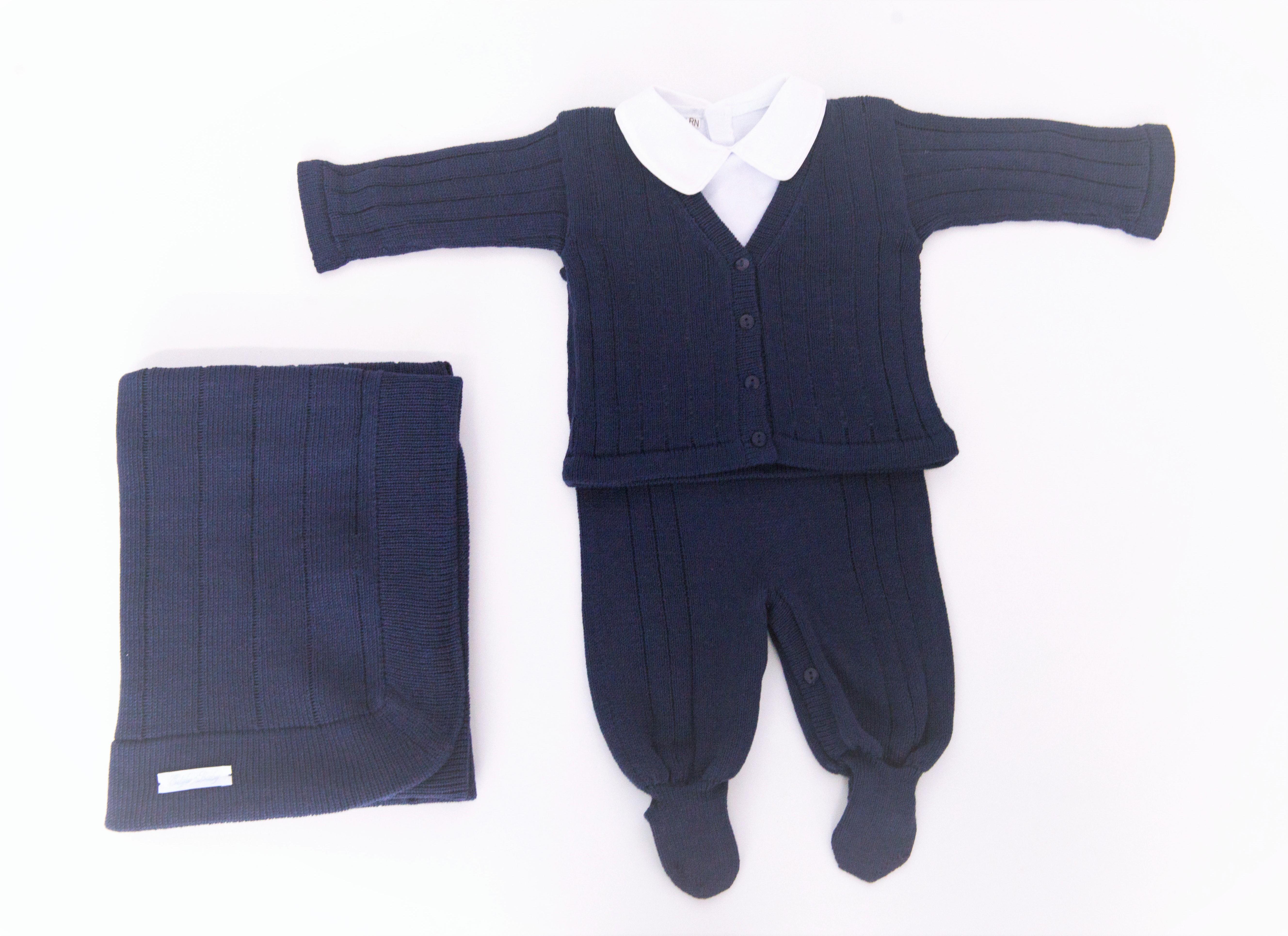 Saída de Maternidade Azul Marinho  c51db18310c