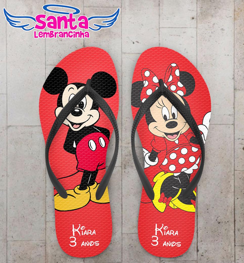 cfa2e65c104df0 Chinelo Infantil Tema Mickey e Minnie