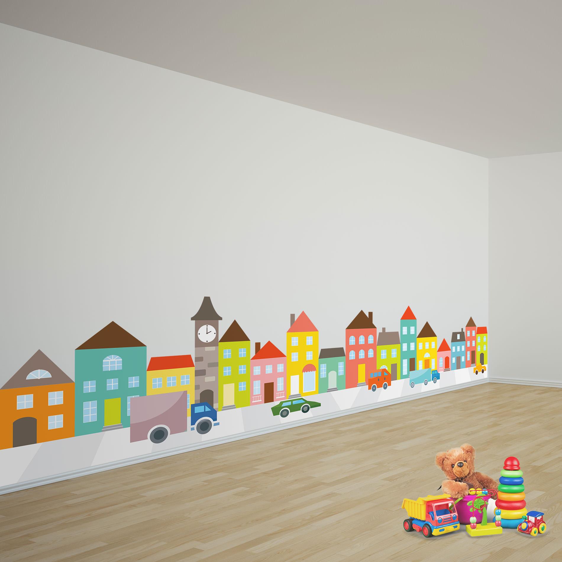 Adesivo de Parede Infantil Casas e Carros Gigante 55x263cm no Elo7 ...