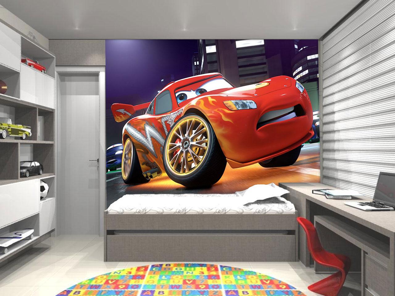 Papel De Parede 3d Infantil Disney Carro Decora O De Ambiente  ~ Parede Branca Quarto Com Quarto De Menino Carro