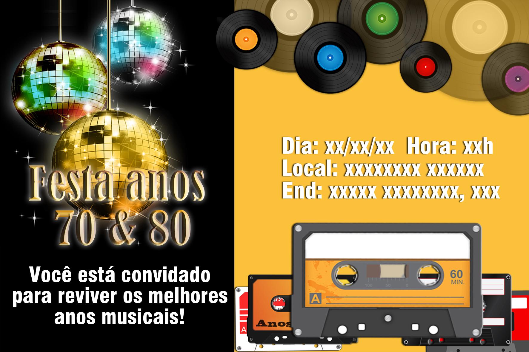 Festa Anos 70 E 80 Convite Digital No Elo7 Bamboo Web Art 8573ec