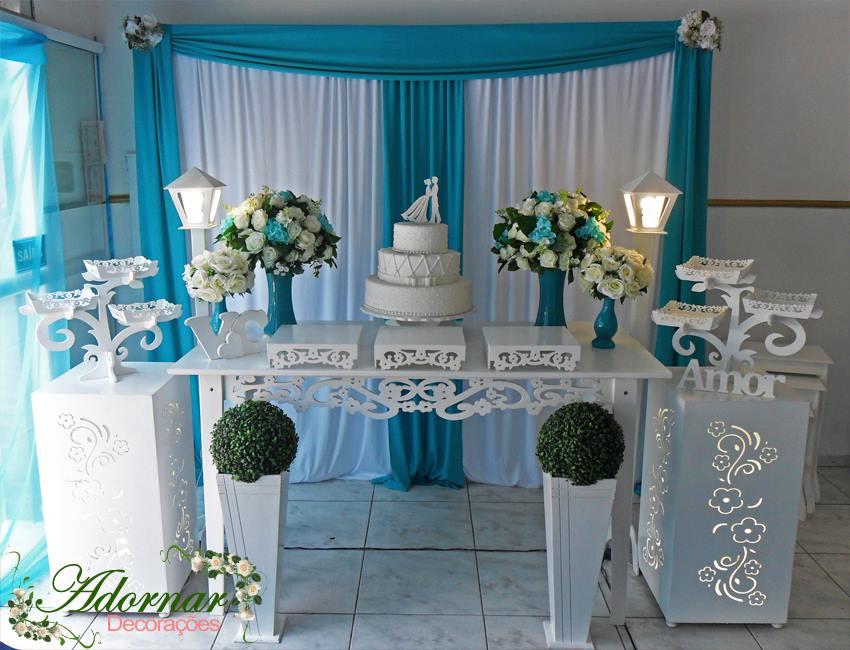 b63732fd0a Decoracao de Mesa de Bolo Azul Tiffany | Elo7