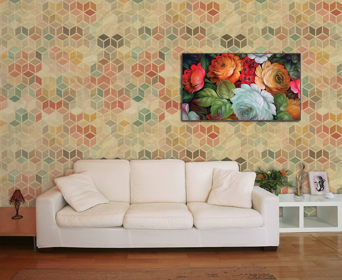 Papel de parede de sala vintage retro paredes - Papel de pared retro ...