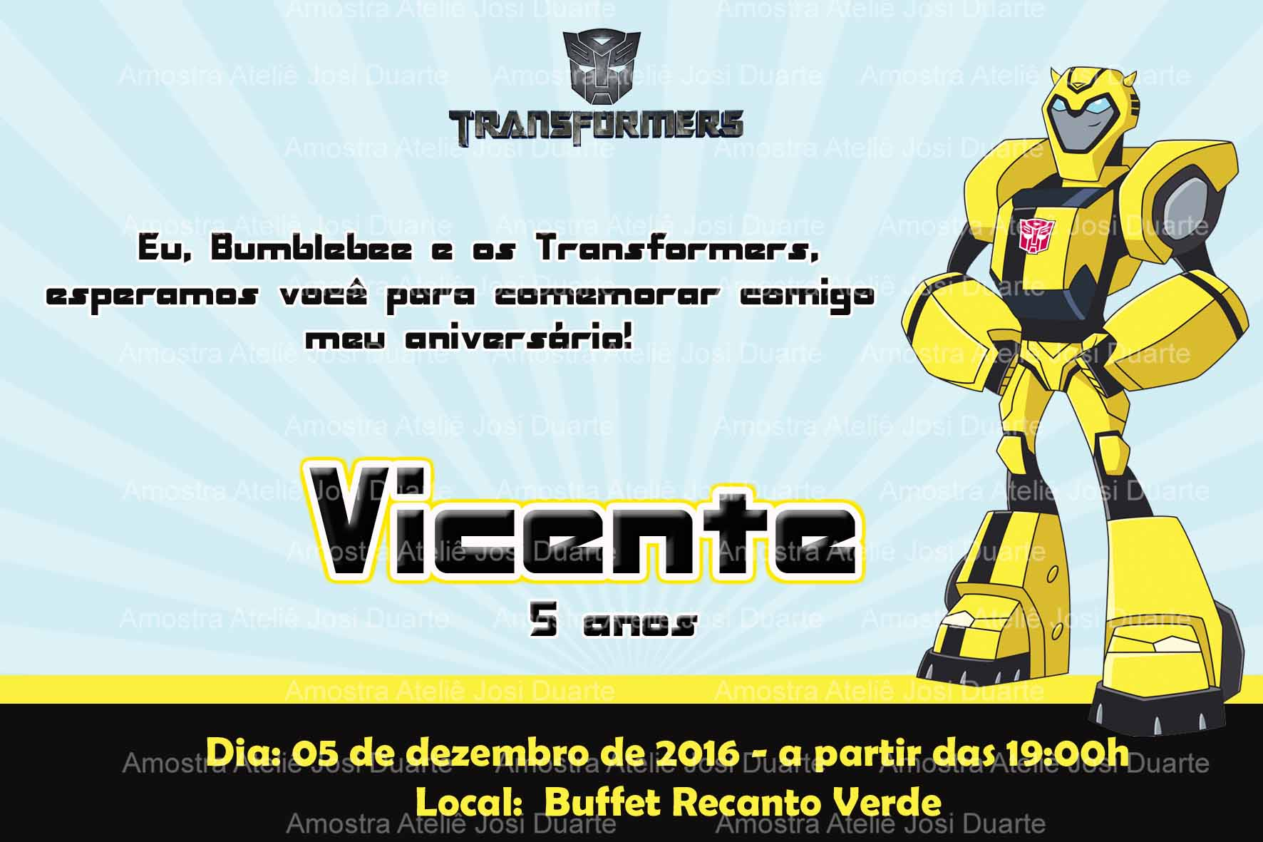 Convite Transformers Elo7