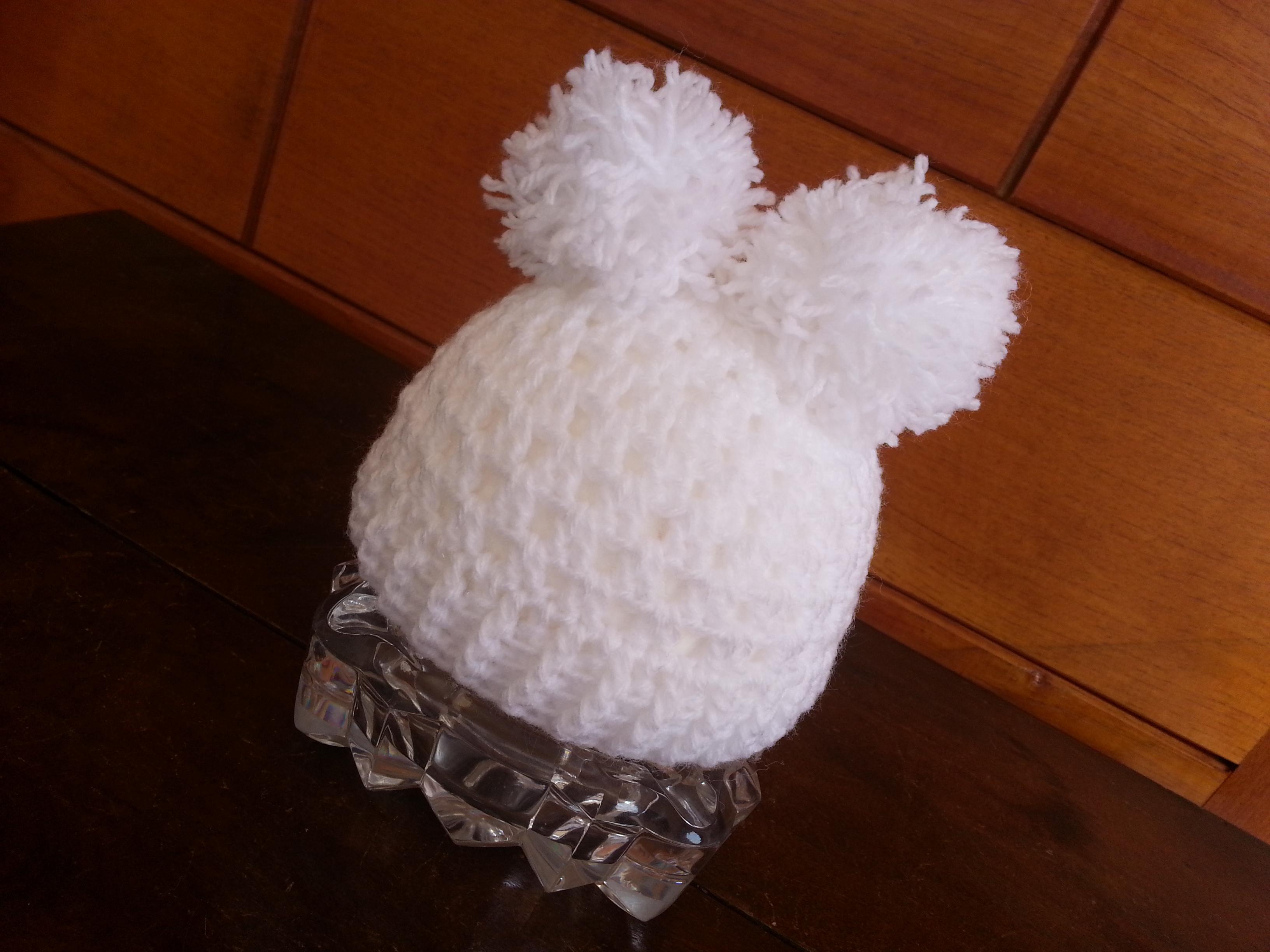 Touca de Ursinho Branco para Ensaio Newborn  c75a4575853