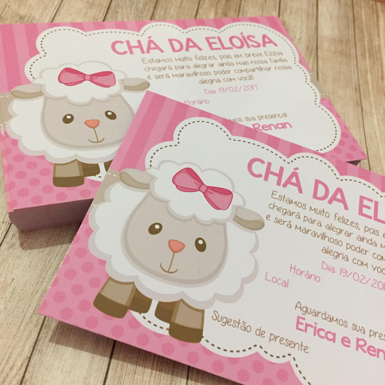 Convite Cha De Bebe Ovelhinha Elo7
