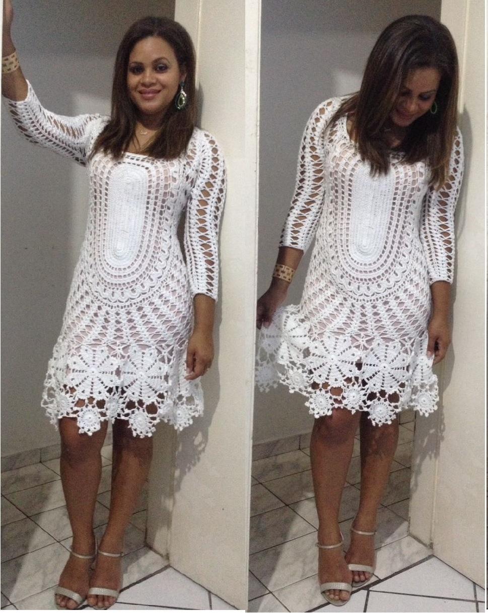 vestidos de croché feito