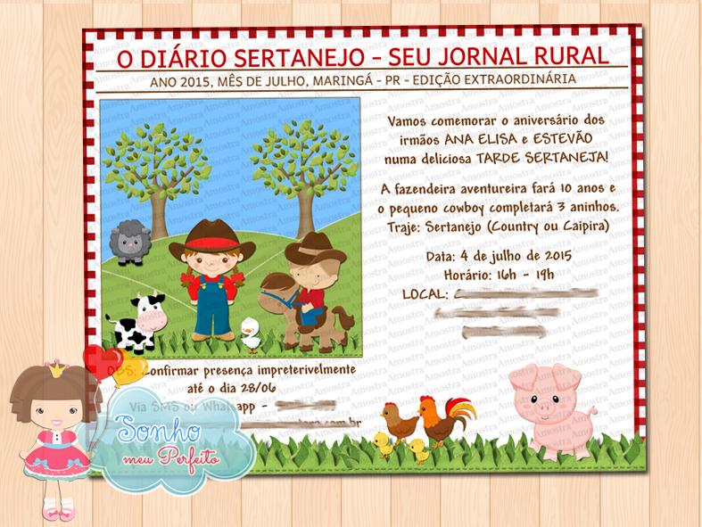 Convite Sertanejo Elo7