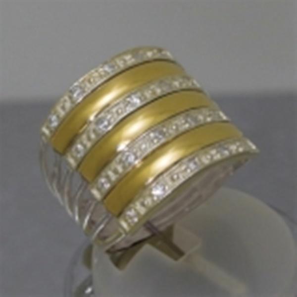 Anel de Prata Zirconia e Aplique Ouro   Elo7 27efa5070b