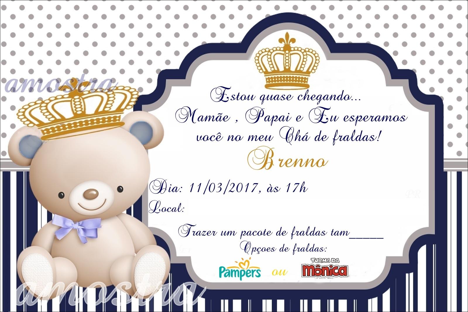 Convite Cha De Bebê Urso Coroa No Elo7 Acriativa Presentes 7db579