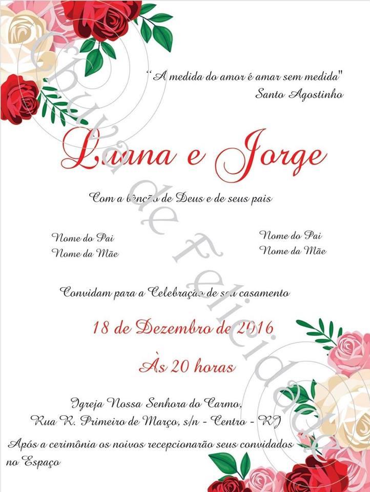 Convite Rosas Arte Digital No Elo7 Chuva De Felicidade 87a392
