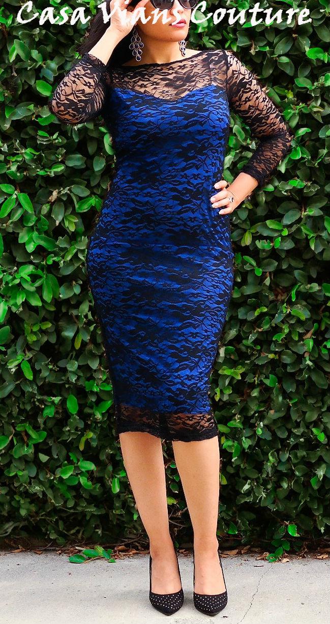 Vestido midi de renda azul marinho