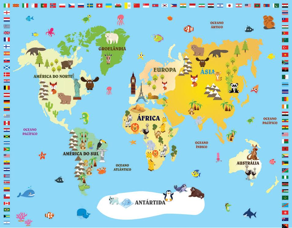 Mapa Mundi Infantil  Costa Barros Decor  Elo7