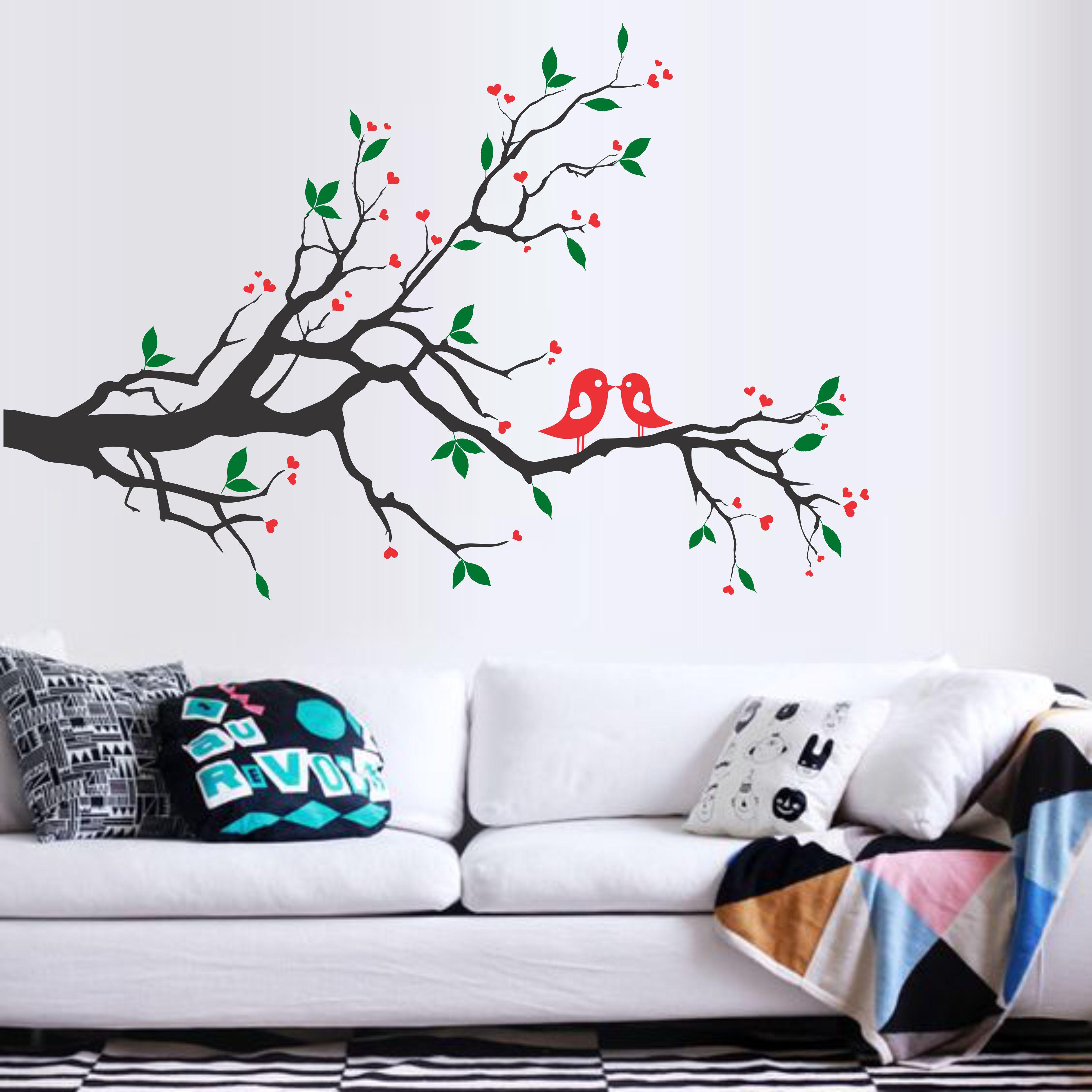 0703e3cd5 Decoração de Sala de Estar com Galho Árvore e Passarinhos
