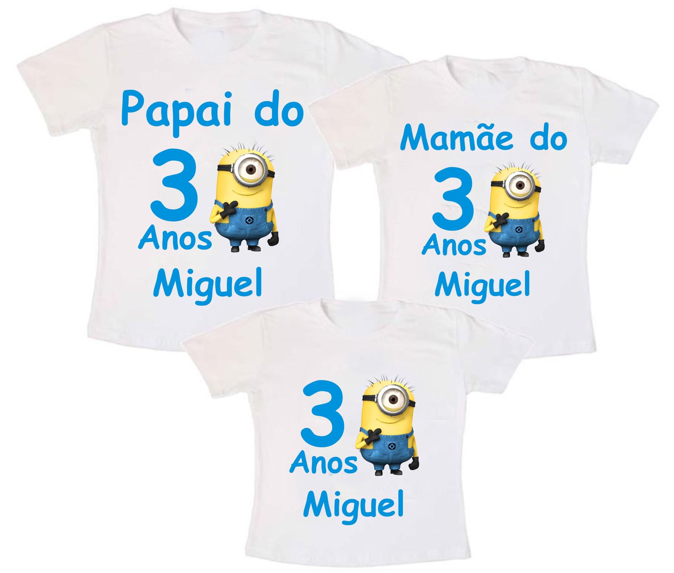 6e5860a768349 Kit 3 Camiseta Minions Aniversario no Elo7