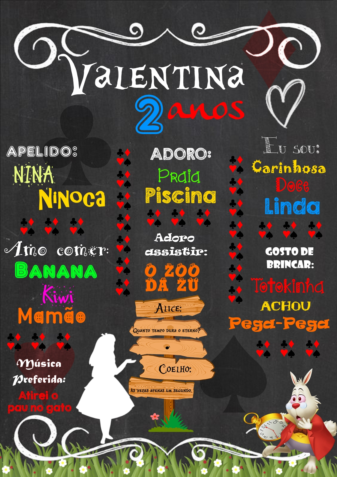 Chalkboard Alice No País Das Maravilhas No Elo7 Dedos De Menina