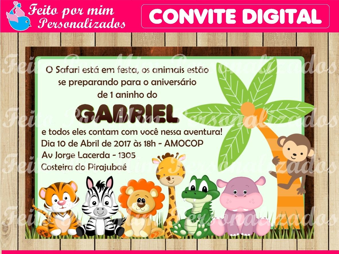 Convite Do Safari Menino Elo7