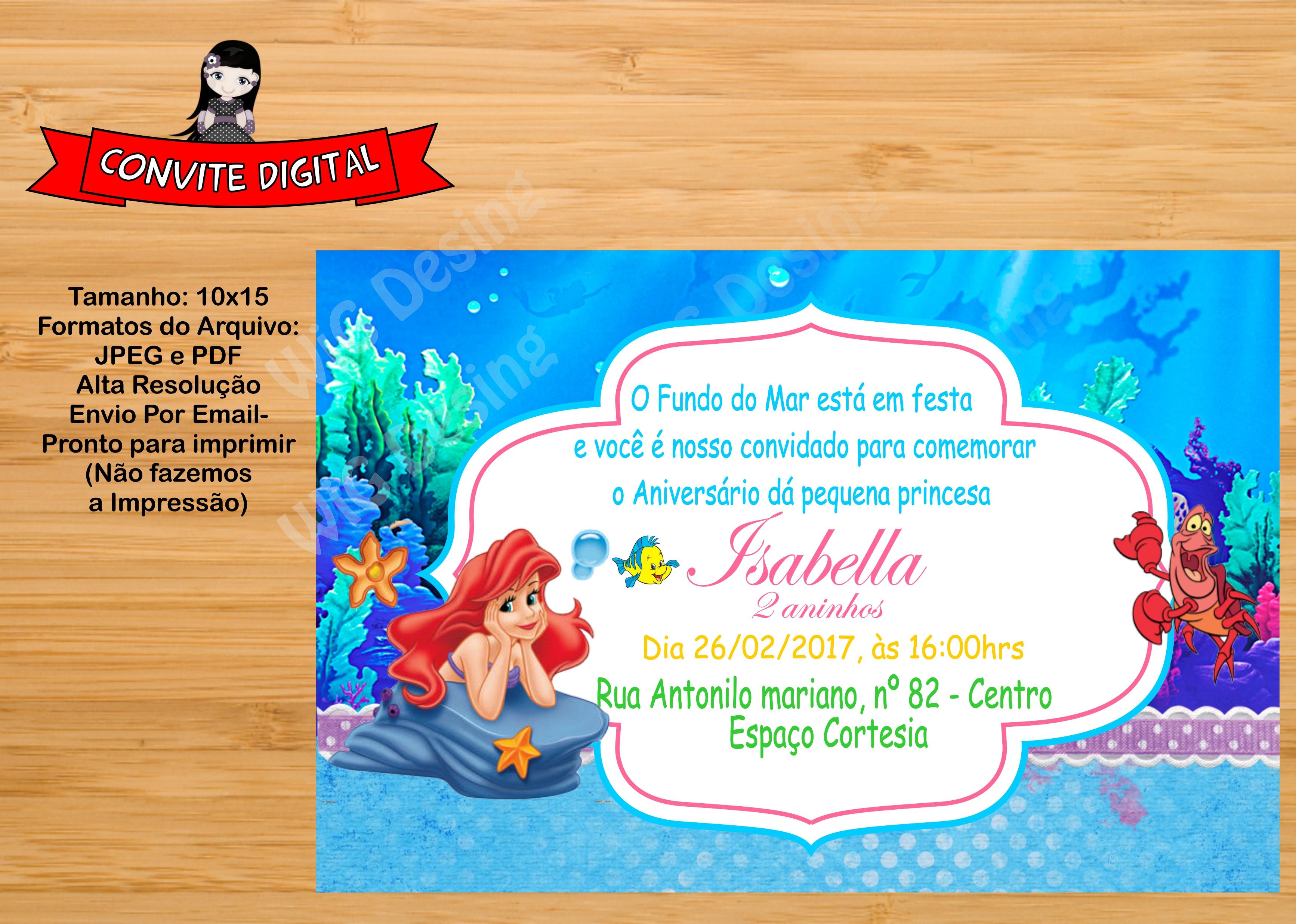 Convite Digital A Pequena Sereia Ariel No Elo7 Wig Design 898e18