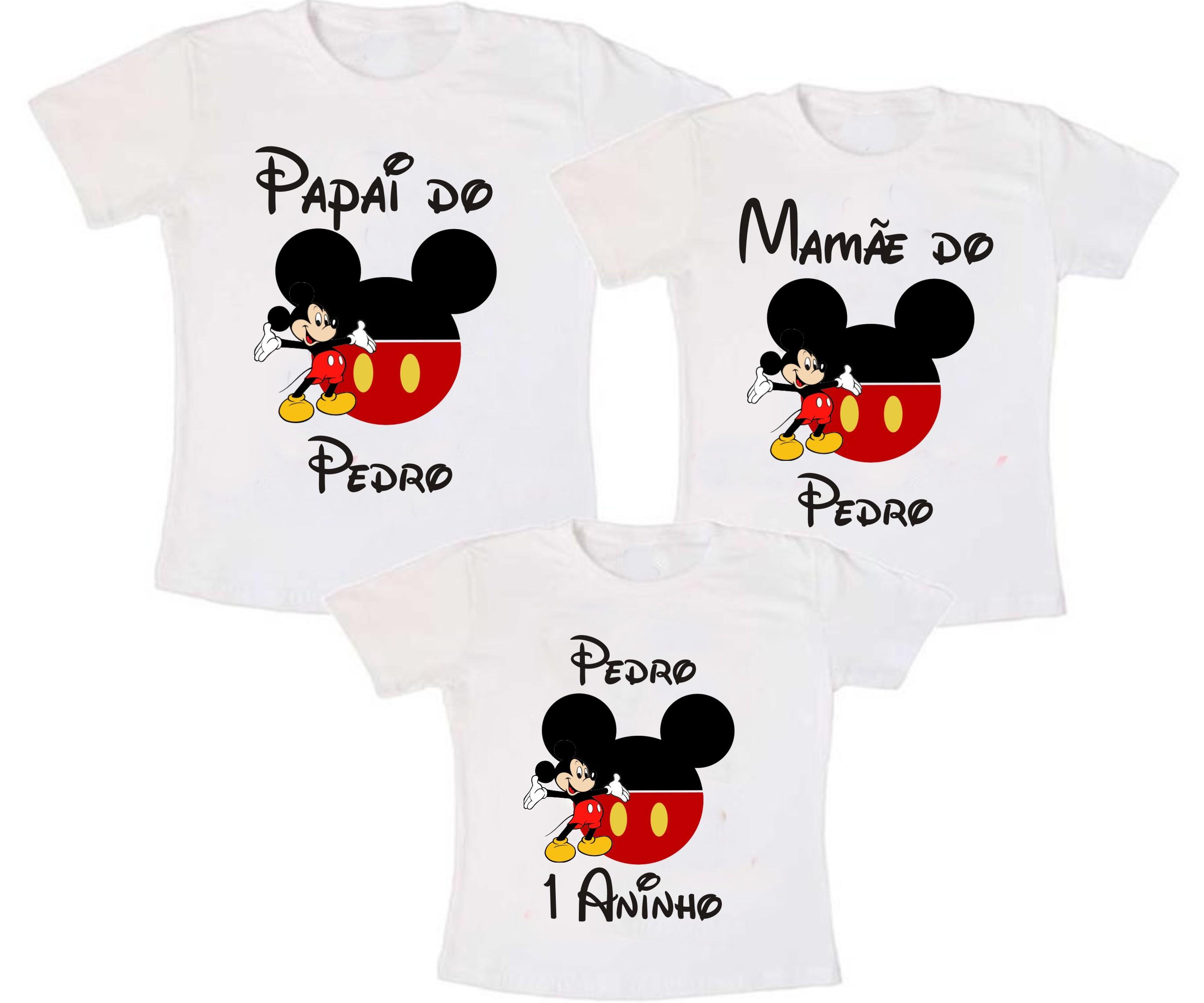 zapatos deportivos 4b842 3beb7 Kit 3 Camiseta Mickey Mouse Aniversario