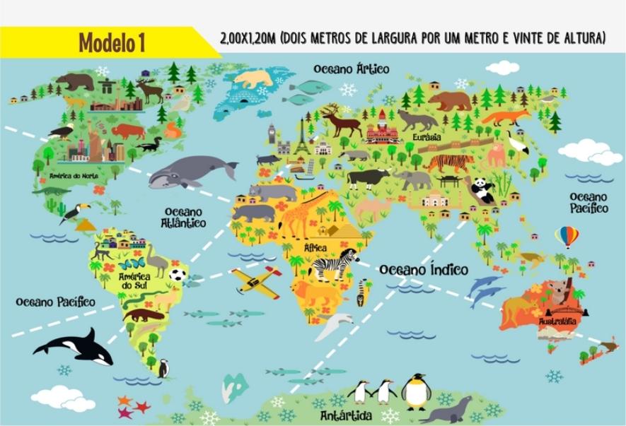 Adesivo Para Parede Mapa Mundi Infantil  Decora MaisRj  Elo7