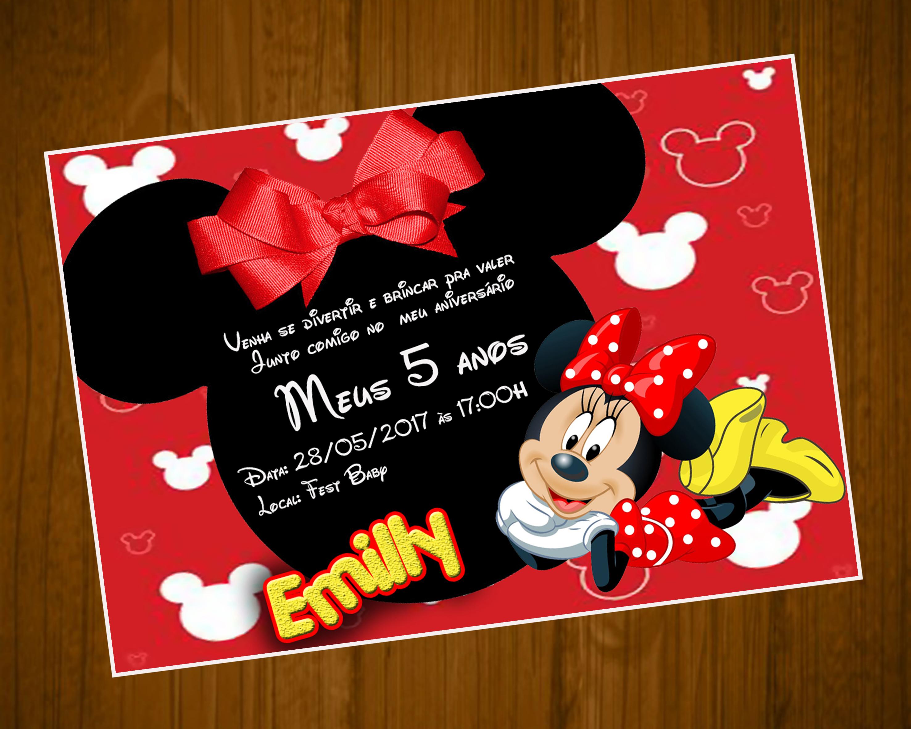 Convite Minnie Vermelha 10x7 Elo7