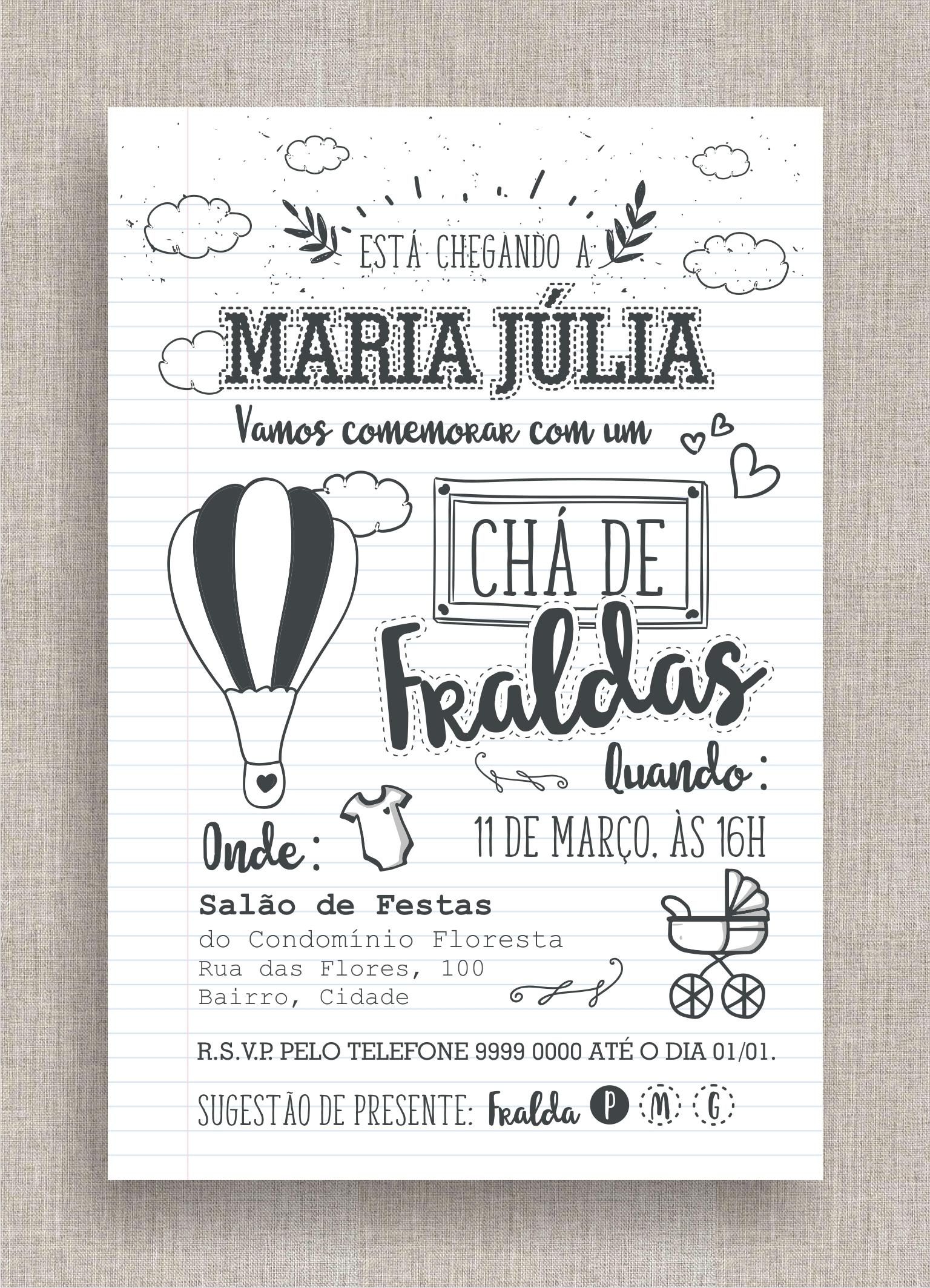 Super Convite Digital Chá de Fraldas 42 no Elo7 | A Ana Faz (7F3400) HV31