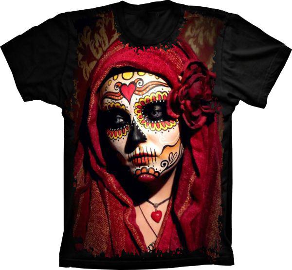 99682149e Camiseta Caveira Mexicana Mulher Tribo no Elo7