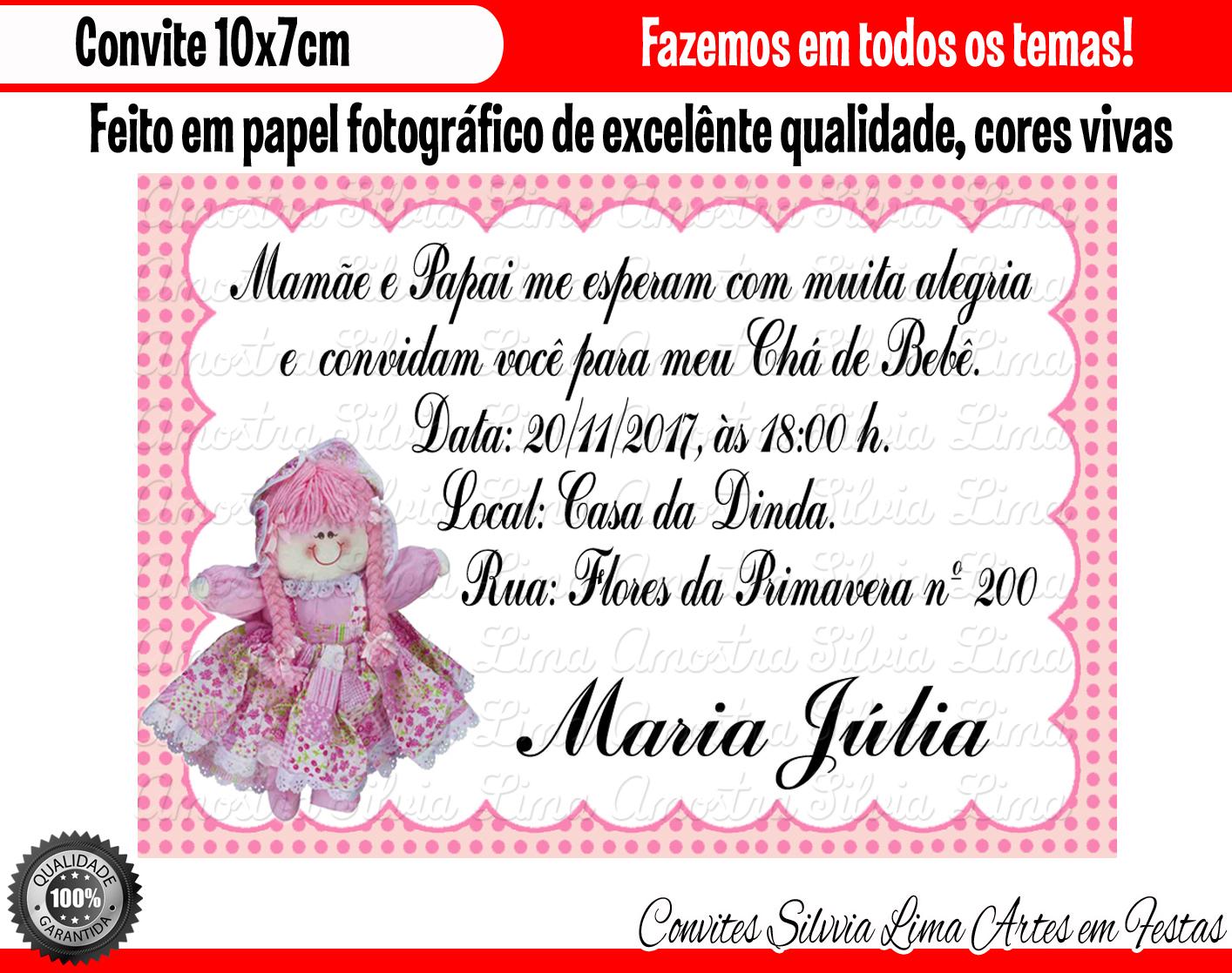 Convite Chá De Bebê Boneca Elo7