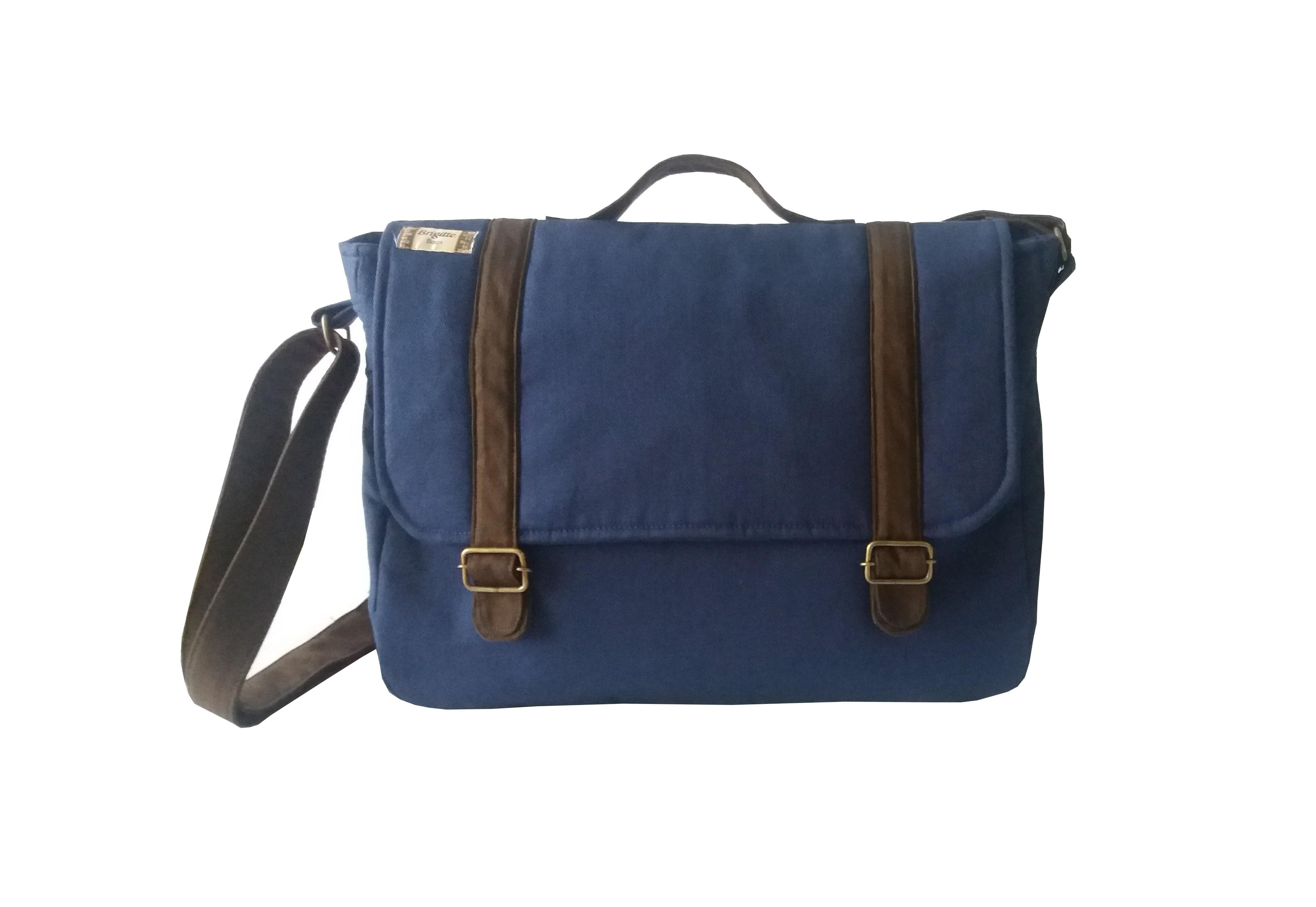 Top Bolsa Carteiro Grande Azul Marinho no Elo7 | Brigitte Bags (8C5055) FK37