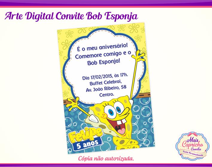 Arte Convite Digital Bob Esponja No Elo7 Mais Capricho 8c7b53