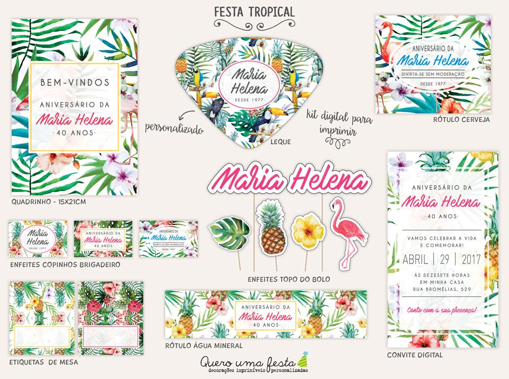 Festa Tropical Kit Digital No Elo7 Quero Uma Festa 8d47b2