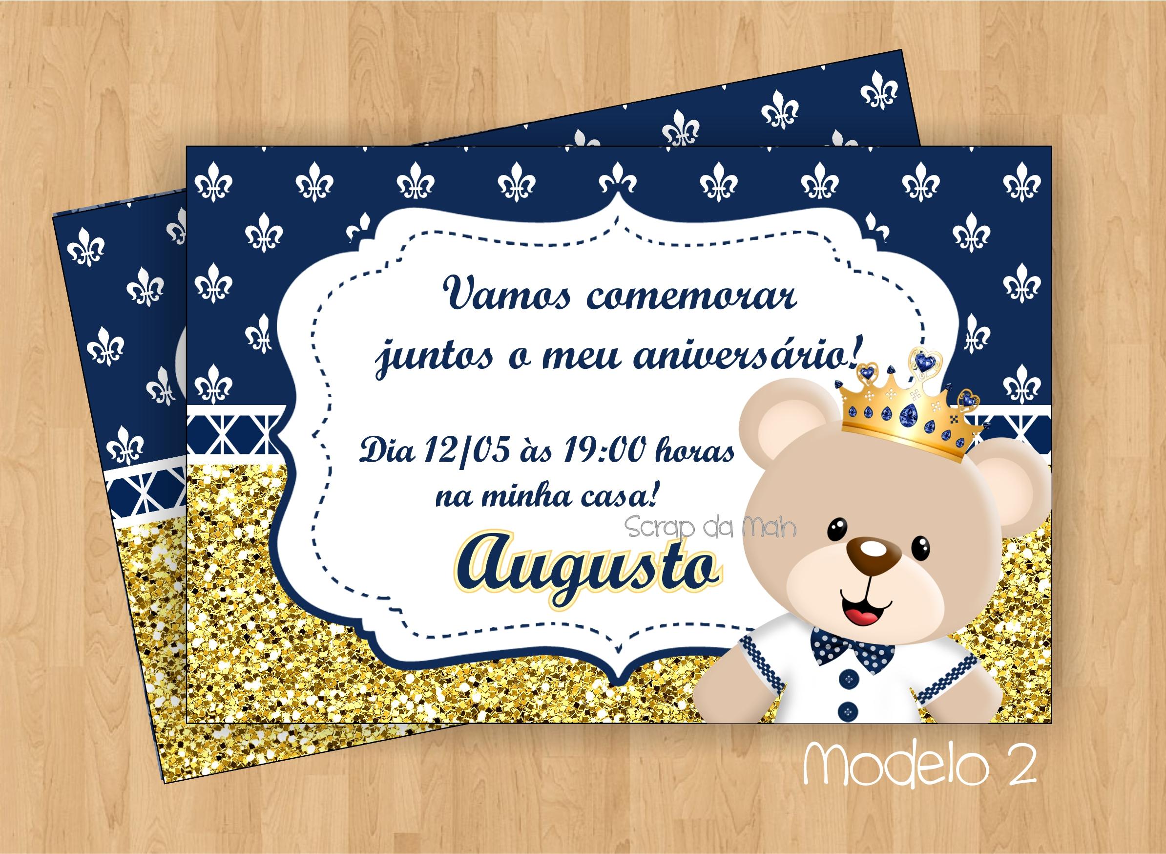 Convite Ursinho Príncipe Azul Escuro No Elo7 Scrap Da Mah 8dc9e7