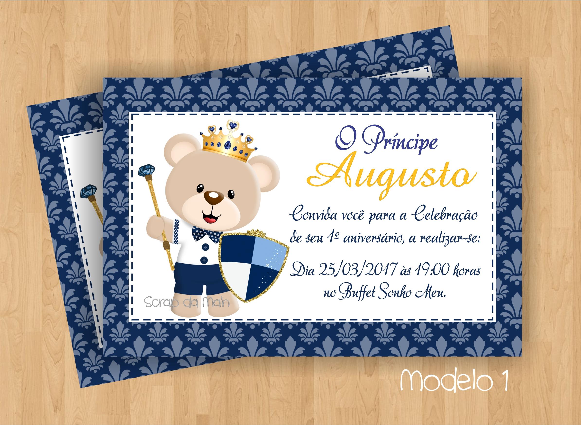 Convite Ursinho Príncipe Azul Escuro No Elo7 Scrap Da Mah 982c12
