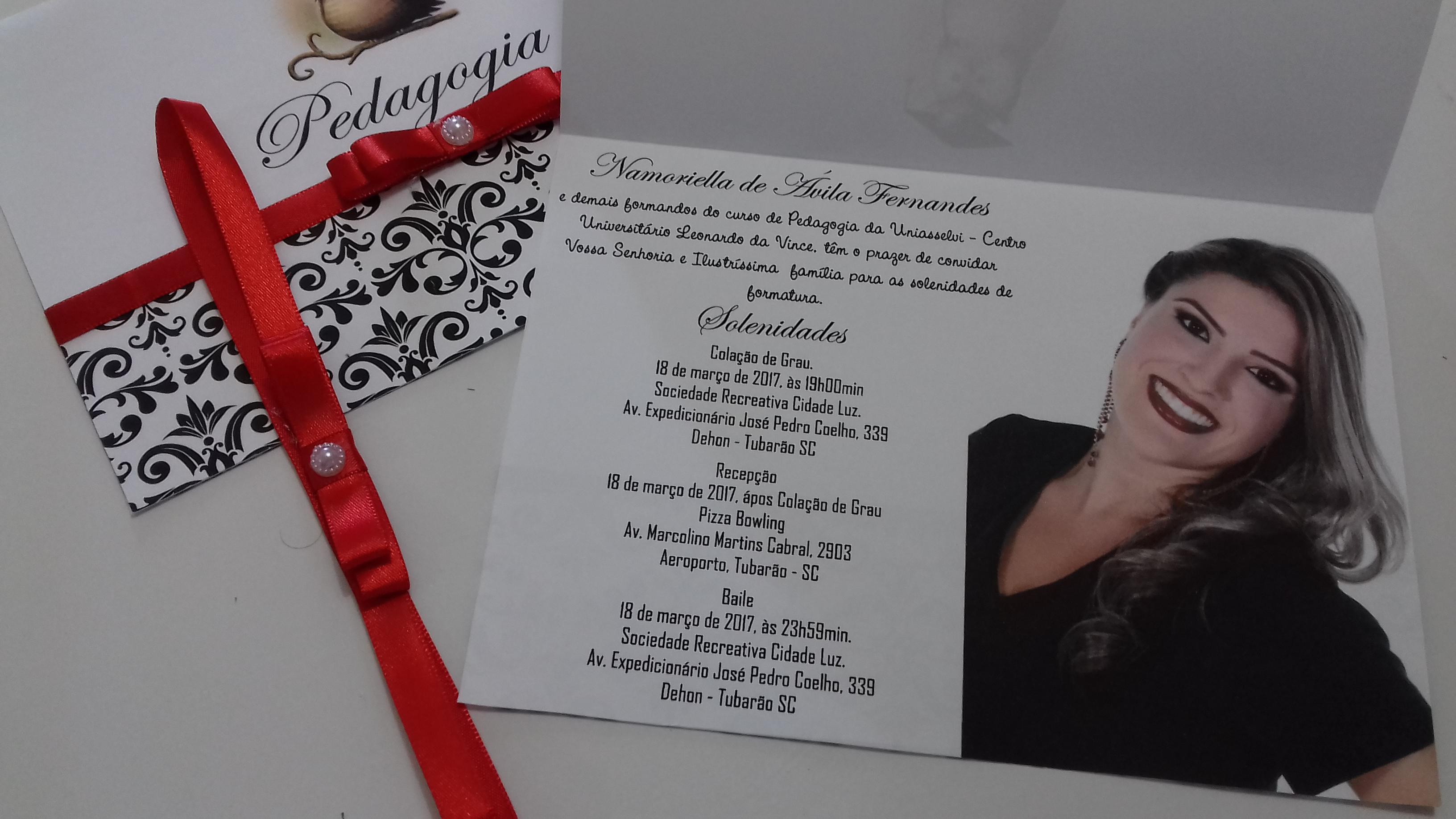 Convite Individual De Formatura Pedagogia Elo7