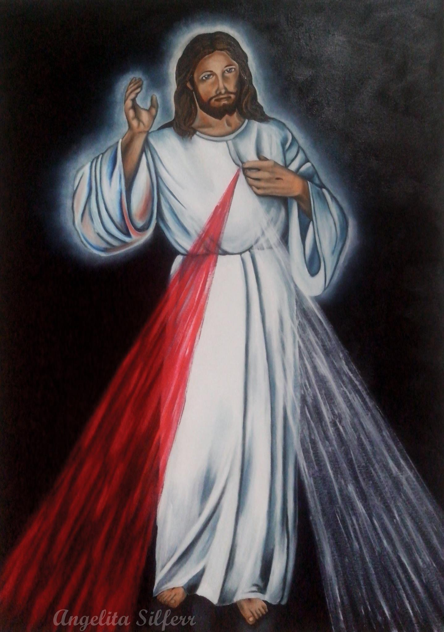 Muito Pintura Sobre Tela- Jesus Misericordioso no Elo7 | Angelita Artes  TX38