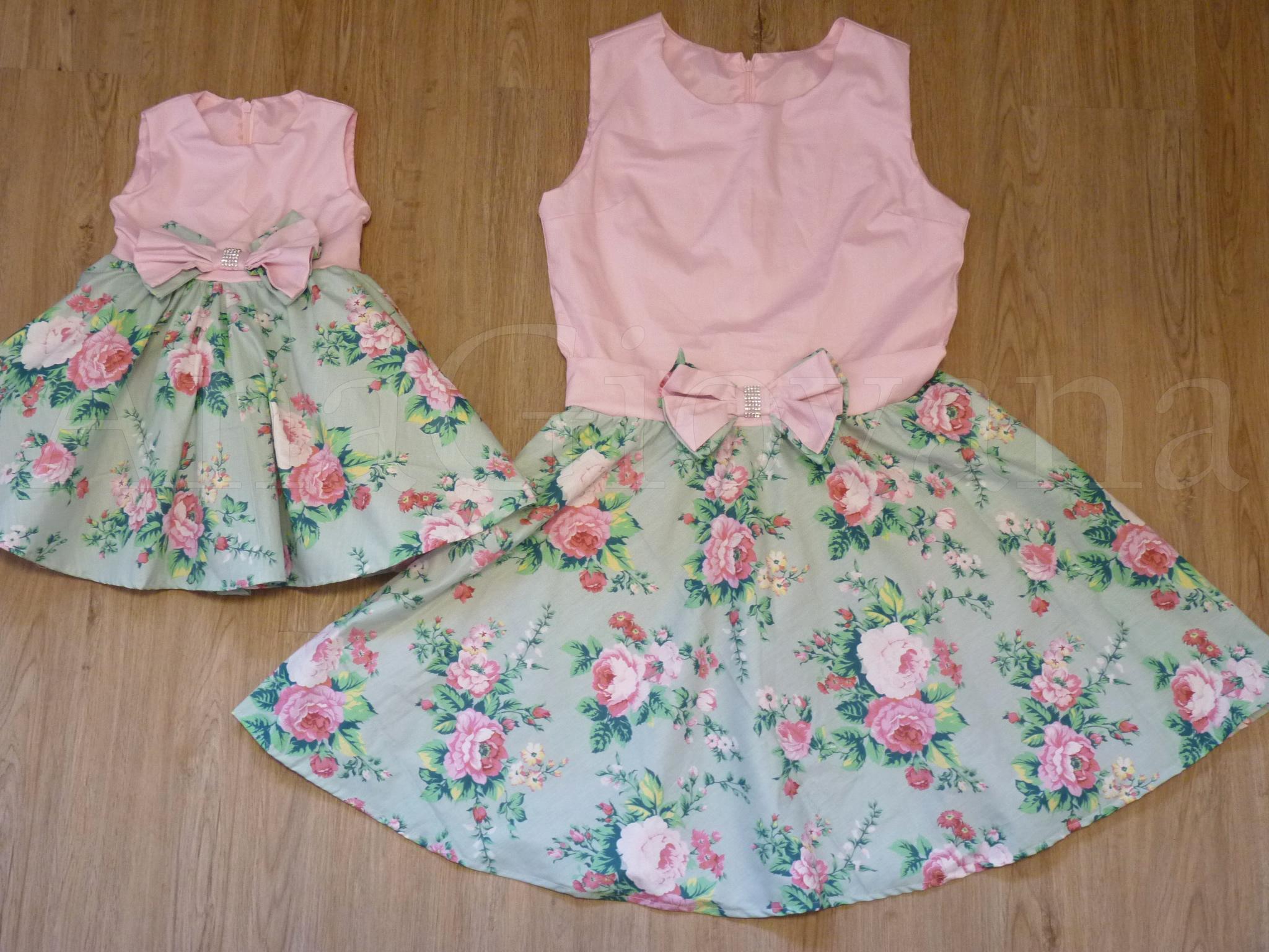 406a78656fa3f6 Vestidos Tal Mãe Tal Filha Floral